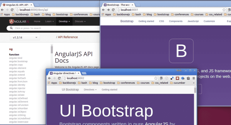 Run AngularJS, Bootstrap and Angular UI bootstrap documentation locally